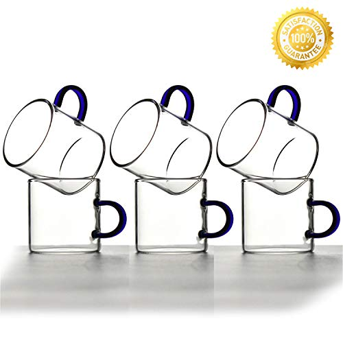 Glass Espresso Cups,QMFIVE,Glasses Demitasse with Color Handle(Set of 6),4-ounces/120ml,Mug for Drinking Tea,Latte,Lungo or Cappuccino,Blue Handle