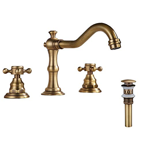 (GGStudy 8-16 inch Two Handles 3 Holes Widespread Bathroom Sink Faucet Antique Brass Basin Mixer Tap Faucet Matching Metal Pop Up Drain With Overflow )
