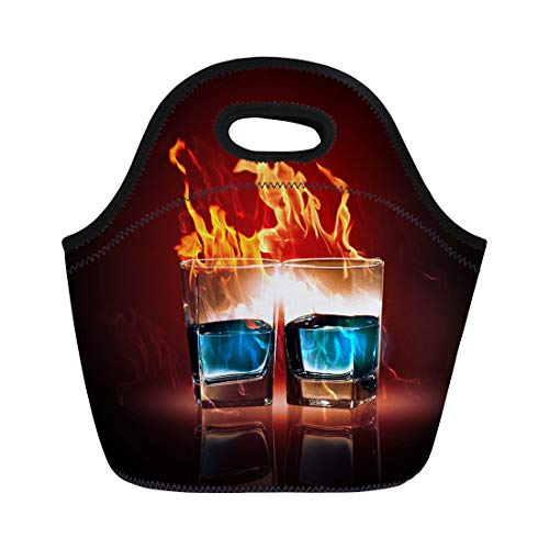 Semtomn Neoprene Lunch Tote Bag Green Nightclub of Two Glasses Burning Emerald Absinthe Alcohol Reusable Cooler Bags Insulated Thermal Picnic Handbag for Travel,School,Outdoors,Work