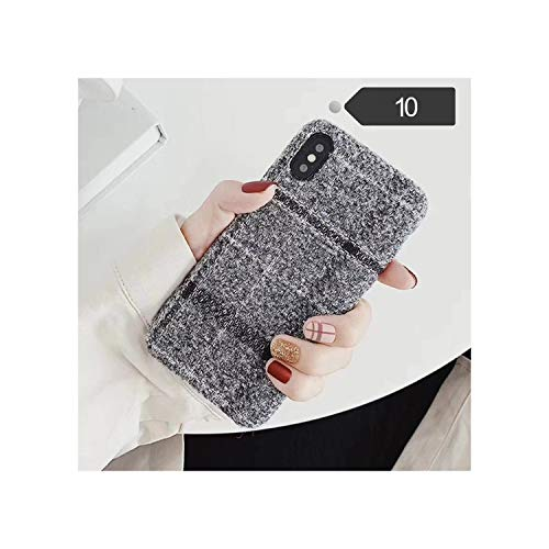 Cloth Grid Phone Case for iPhone X XS Max XR 8 7 6S 6 Plus Lattice Cute Soft Back Cover Cases for iPhone 10,for iPhone 11,10 Gray -  Nianchu