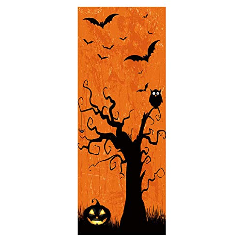 YXIAOL Door Sticker Waterproof 3D Door Stickers Creative Halloween Decoration Mural Bedroom Living Room Wall Stickers Door Stickers,77cmx200cm]()