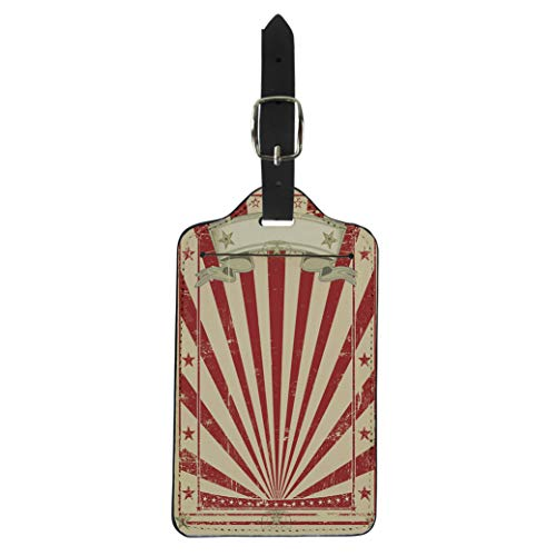 Pinbeam Luggage Tag Blue Circus Retro Red Vintage for Your Message Suitcase Baggage Label ()