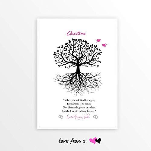 Best Friend Wedding Tree Poem   Sister, Friend, Bridesmaid Gift   Personalized Friendship Print   LFBM6