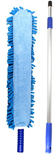 Jet Clean Chenille Microfiber Flat Hand Duster-Dust Appliances, Ceiling Fans, Blinds, Furniture, Shutters, Cars, Delicate Surfaces-Chenille-Extension Pole Reach 25-44
