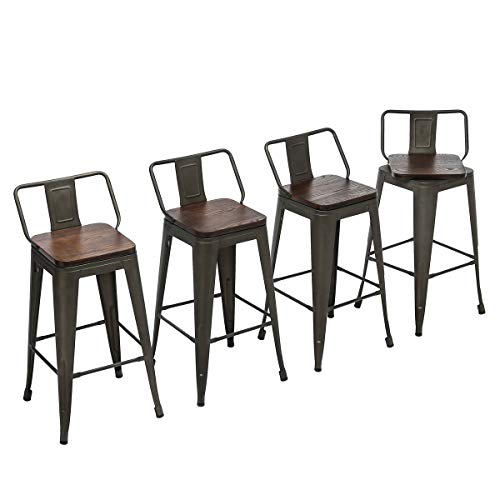 """Yongchuang Metal Counter Bar Stools with Low Back Wooden Seat (Set of 4) (Swivel 24"""", Rusty)"""