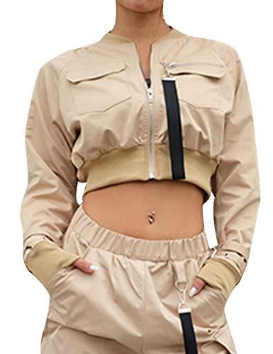 - XXXITICAT Women's Chic Fashion Stand Collar Shorts Aviator Coats Windbreaker Long Sleeve Cropped Motorcycle Bomber Jackets(KH,M) Khaki