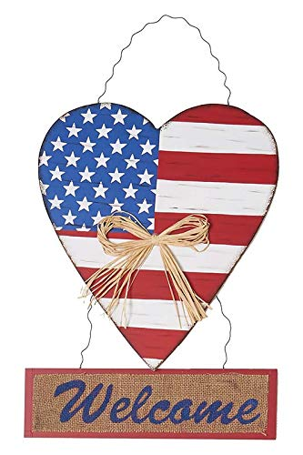 - Rainbow Handcrafts Hanging Wood Americana Heart Welcome Sign Wooden Patriotic Welcome Sign with American Flag Hearts - 4th of July Decoration Kitchen Bathroom Garden Yard Decoration