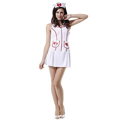Doctor Patient Costumes (HDE Women's Nurse Halloween Costume Cosplay Uniform Themed Party Dress with Hat)
