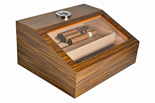 La Madera Cigars Glass and Wooden Cigar Humidor High Quality Luxury Cigar Box Holds 50 Cigars with Nice Looking Luxury Cigar Cutter Lightweight Durable and Portable Desktop Humidor Nice Packaging