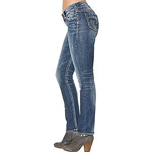 Silver Jeans Co. Women's  Curvy Fit  Straight Leg Denim Jeans