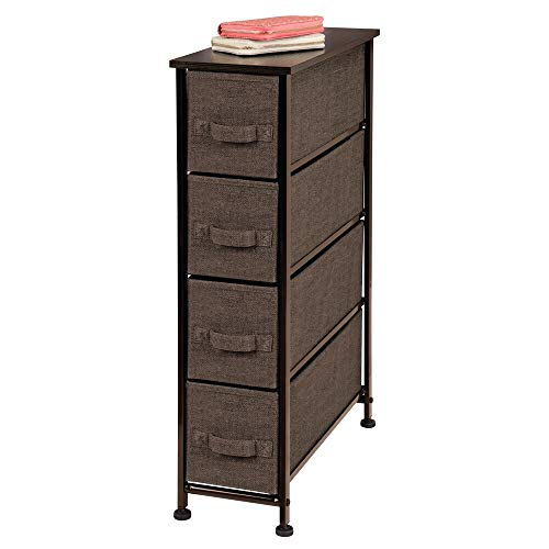 mDesign Narrow Vertical Dresser Storage Tower - Sturdy Steel Frame, Wood Top, Easy Pull Fabric Bins - Organizer Unit for Bedroom, Hallway, Entryway, Closet - Textured Print, 4 Drawers - Espresso Brown (4 Drawer Cd)