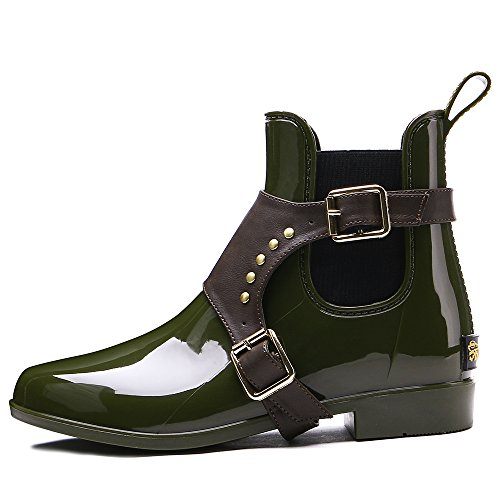 Waterproof Fashion Rain Boots Shoe TONGPU Women's Ankle Green Op8zSz