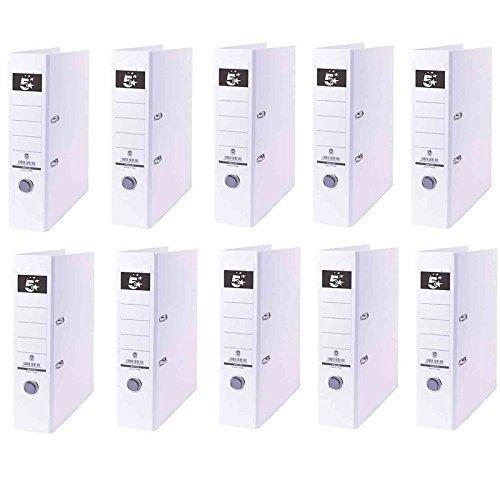 10 Ordner Weiß Kunststoff 8cm Aktenordner 80mm DIN A4 Büro von