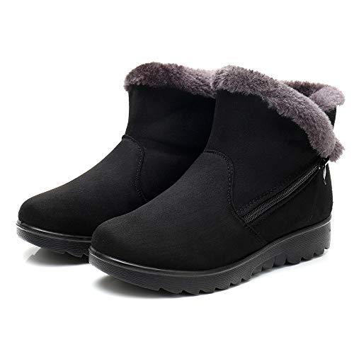 Female Flats Donna Punta Shoes Moda Autunno Rotonda Pelliccia liuchehd Inverno Stivali Nero Snow Invernali Boots Neve gfdnwHOPO