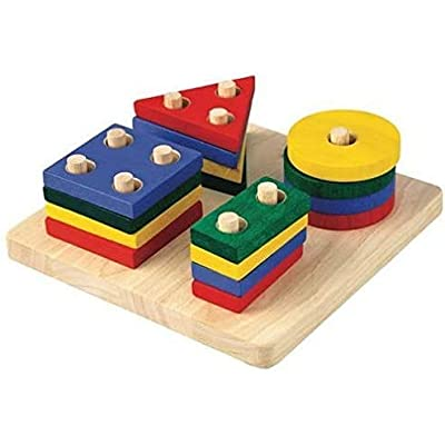 PlanToys Wooden Geometric Sorting Board (2403) | Sustainably Made from Rubberwood and Non-Toxic Paints and Dyes: Toys & Games