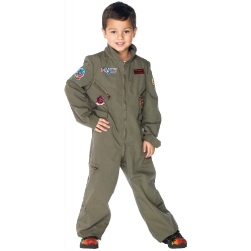 Leg Avenue Top Gun Boys Flight Suit, Khaki, - Maverick Costume Gun Top