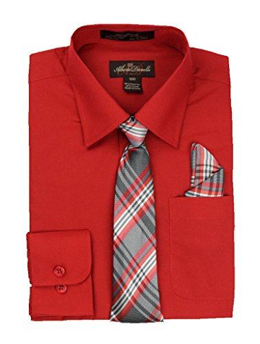 Shirt Scarlet Kids - Alberto Danelli's Boys Long Sleeve Dress Shirt with Matching Tie and Handkerchief, 18, Scarlet