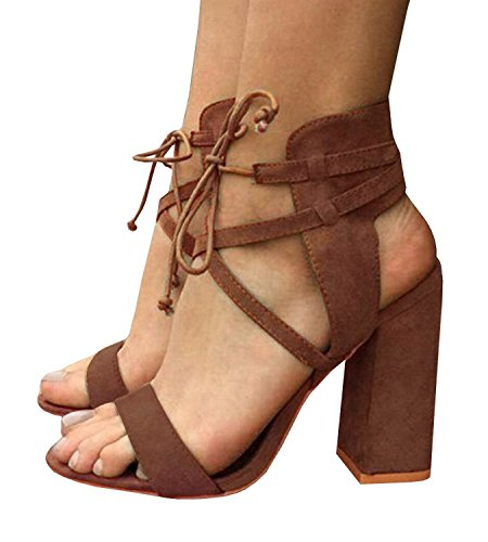 - ThusFar Open Toe Pumps Chunky Block Heeled Sandals Ankle Strap high Heels Brown 8.5 US
