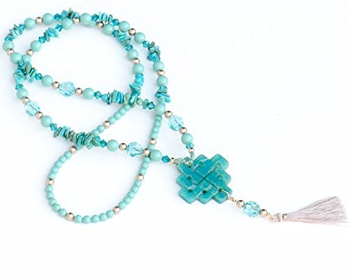 Tassel Necklace with Serpentine Pendant, Turquoise Chips and Swarovski Crystals - Serpentine Turquoise Necklace