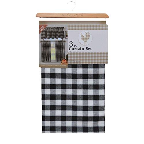 Home Maison Quincy Checks Kitchen Curtain 3Pc Set Black,