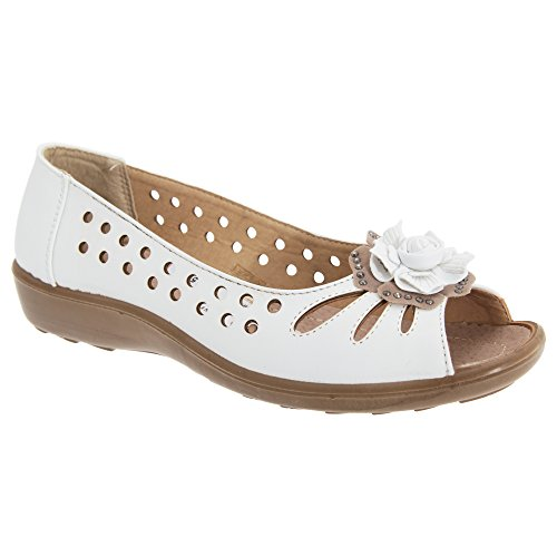 Boulevard Womens/Ladies Punched Open Toe Flower Casual Shoes (10 US) (White) (55 Open Toe Ladies Shoes)