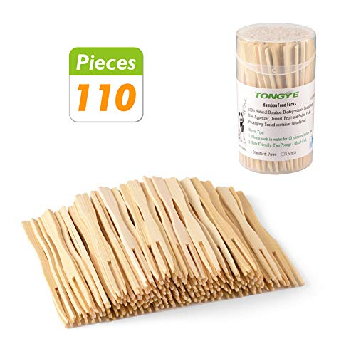 Blunt End (TONGYE Bamboo Forks 3.5 Inch, Mini Food Picks for Party, Banquet, Buffet, Catering, and Daily Life. Two Prongs - Blunt End Toothpicks for Appetizer, Cocktail, Fruit, Pastry, Dessert. (110 PCS))