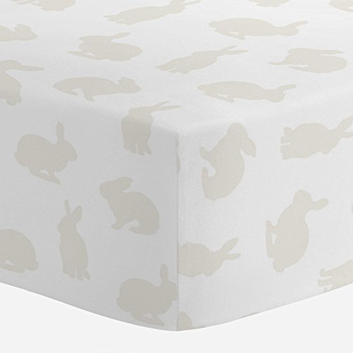 Carousel Designs Ivory Bunnies Crib Sheet - Organic 100% Cotton Fitted Crib Sheet - Made in the USA - Ivory Bunny