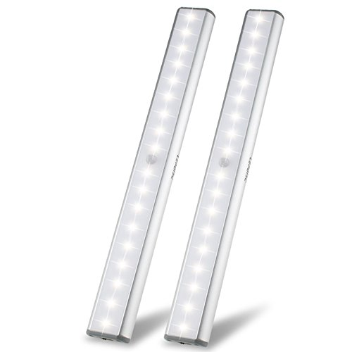 Under Cabinet Lights Closet Lights Motion Sensor 18 LEDs USB Rechargeable Wireless Under Cabinet Lighting,Magnetic Stick On Anywhere LED Night Lights for Closet/Drawer/Cupboard,White Light,2 Pack by LEPOTEC (Image #1)