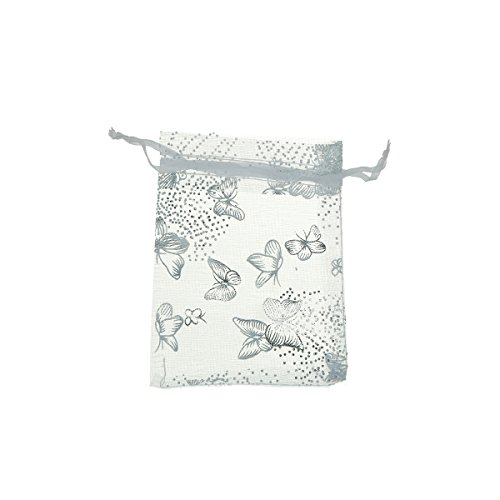 9cm x12cm White Butterfly Organza Jewelry Pouches Wedding Party Christmas Gift Silk Bags (White Christmas Party)