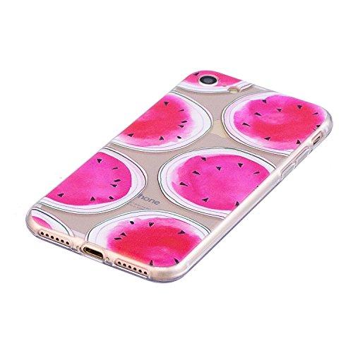 iPhone 7 Coque Pastèque rose Premium Gel TPU Souple Silicone Transparent Clair Bumper Protection Housse Arrière Étui Pour Apple iPhone 7 + Deux cadeau