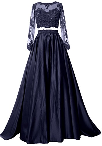 MACloth Women 2 Piece Long Sleeve Prom Dress 2017 Lace Satin Formal Evening Gown Azul Marino Oscuro