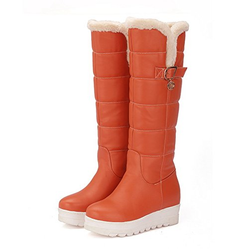 AdeeSu Buckle Matching Thick Boots Heighten Jacinth Imitated Heel Inside Bottom Leather Womens Color RxqwrX8nRU