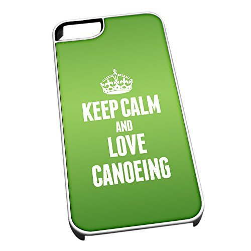 Bianco cover per iPhone 5/5S 1716 verde Keep Calm and Love Canoeing