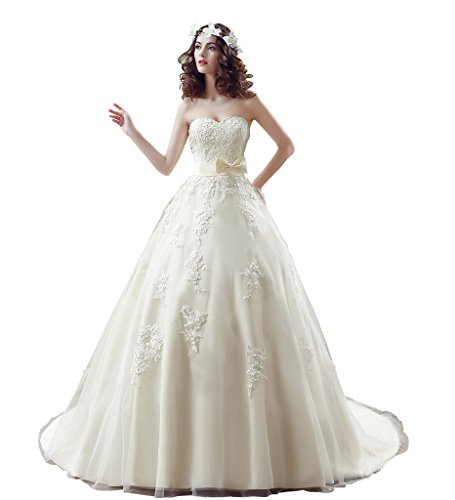MCandy Women Sweetheart Appliques Bridal Gowns Sweep Train Vintage Party Dresses 16 US Champange