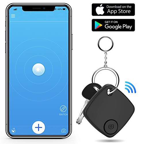 Key Finder Smart Tracker - Key Finder Locator with App for Phone - Bluetooth Phone Finder Wallet Tracker for Keychain Bag Purse Luggage - Anti Lost Tracking Device Item Finder (Black)