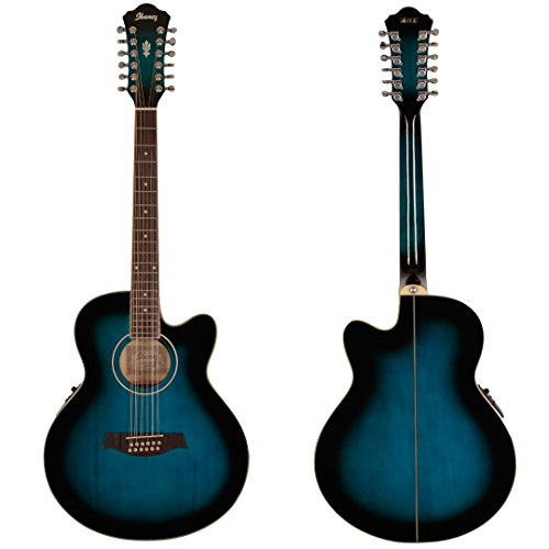 Ibanez AEL152ETBS 12-String Cutaway Acoustic-Electric Guitar Transparent Blue
