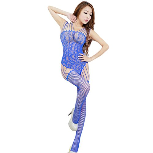 Blue Vintage Underwear (Creazy Women Sexy Backless Floral Open Crotch Mesh Bodystockings Bodysuits)