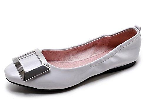 AllhqFashion Damen Quadratisch Zehe Ohne Absatz Lackleder Eingelegt Ziehen auf Flache Schuhe Grau