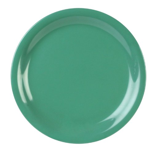 Excellanté Green Melamine Collection 9-Inch Narrow Rim Round Plate, Green, 12-Piece