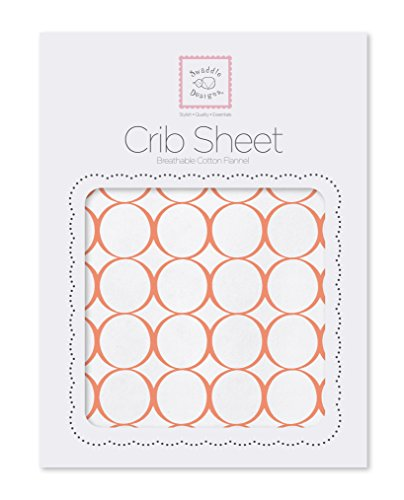SwaddleDesigns Cotton Crib Sheet, Made in USA, Premium Cotton Flannel, Orange Mod (Orange Mod Circles)