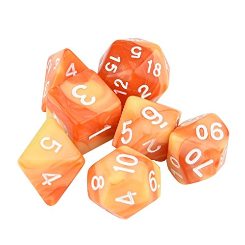 matoen 7pcs/Set Polyhedral D4-D20 Multi Sided Acrylic Dices for TRPG Game Dungeons & Dragons (D) -