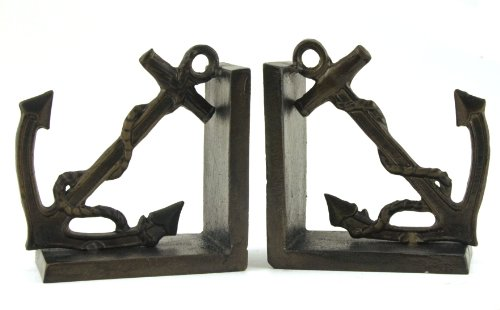 Nautical Anchor Bookends Book Ends Set, Cast Iron with Rust Bronze Finish