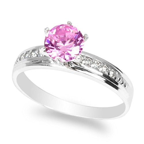 JamesJenny Ladies 10K White Gold 1.0ct Pink CZ Fancy Engagement Solitaire Ring Size 10 (Ring 1 Setting Solitaire Carat)