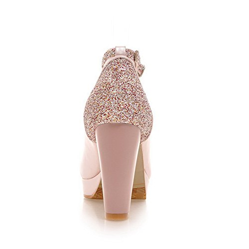 AmoonyFashion Womens Buckle Round Closed Toe High-Heels PU Solid Pumps-Shoes Pink TKWFSkUKM