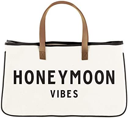 Creative Brands Wedding Collection 100-Percent Cotton Large Canvas Tote Bag, Honeymoon Vibes