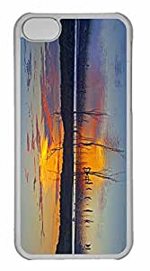 iPhone 5C Case, Personalized Custom Sunset Reflection Clinton Lake for iPhone 5C PC Clear Case
