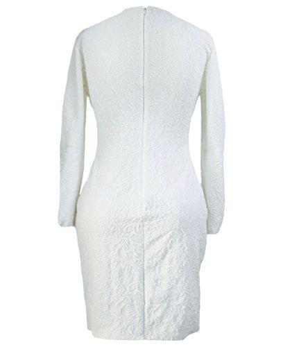 EOZY Robe Blanc Manche Longue Femme Creux Croisé Bretelle Empire Soirée Été
