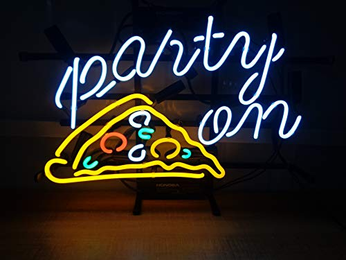 Pizza Party On Customized Metal Frame Neon Sign 17''x13'' Real Glass Neon Sign Light for Beer Bar Pub Garage Room. ()