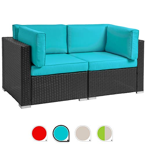 - Walsunny 2pcs Patio Outdoor Furniture Sets,All-Weather Rattan Sectional Sofa with Washable Couch Cushions (Black Rattan) (Loveseats Blue)