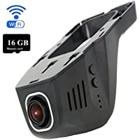 TekBow WiFi Car DVR Dashboard Camera Hidden Video Driving Recorder Full HD 1080P 170 Degree Wide Angle, Night Vision, G-Sensor, Parking Mode, WDR, IOS & Android APP, 16GB Micro SD Card Included